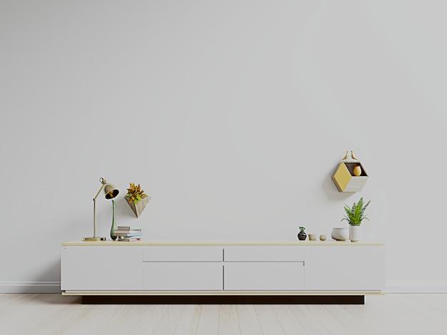 Soporte de tv, mueble de tv en la habitación vacía moderna, pared blanca.