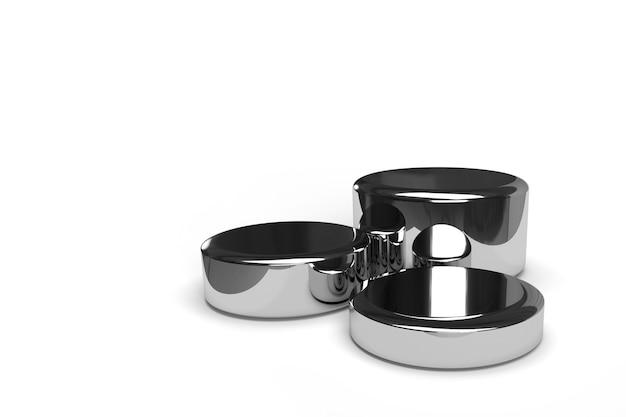 Los soportes de exhibición de plata 3d rinden para la publicidad del producto
