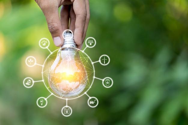 Dé sostener la bombilla con las fuentes de energía de los iconos para renovable, ama el concepto del mundo.