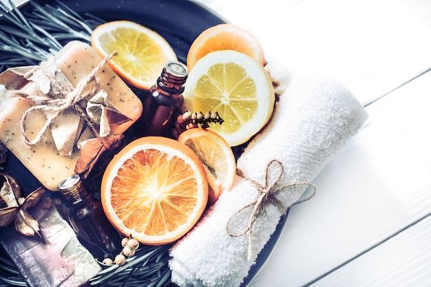 Spa bodegón de ingredientes naturales