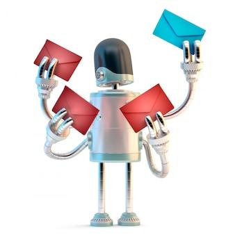 Spambot. ilustración 3d. aislado. contiene el trazado de recorte