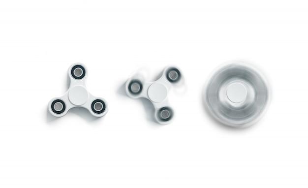 Spin fidget blanco en blanco, estático y spin, vista superior