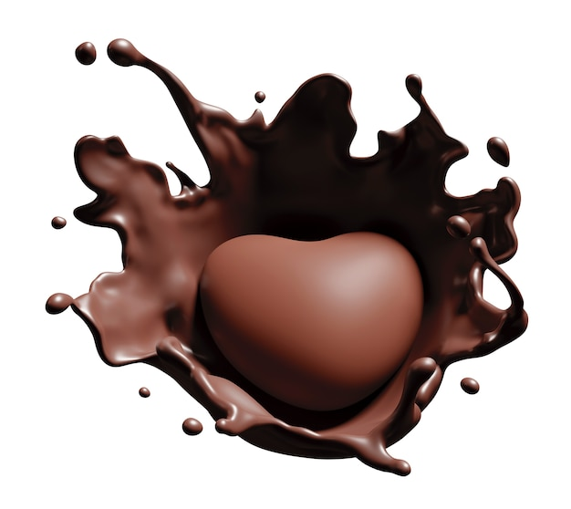 Splash de corazón de chocolate en blanco