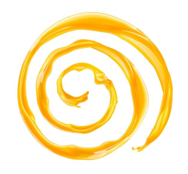 Splash de jugo de naranja aislado sobre fondo blanco.