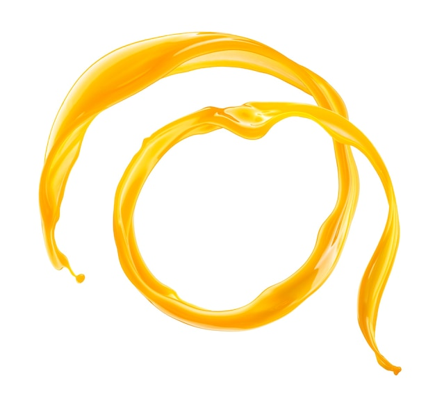 Splash de jugo de naranja círculo aislado sobre fondo blanco.
