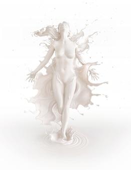 Splash de leche blanca en forma de forma de cuerpo de mujer