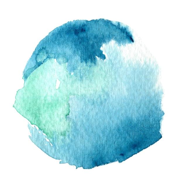 Splash redondo acuarela azul y verde abstracto sobre fondo blanco