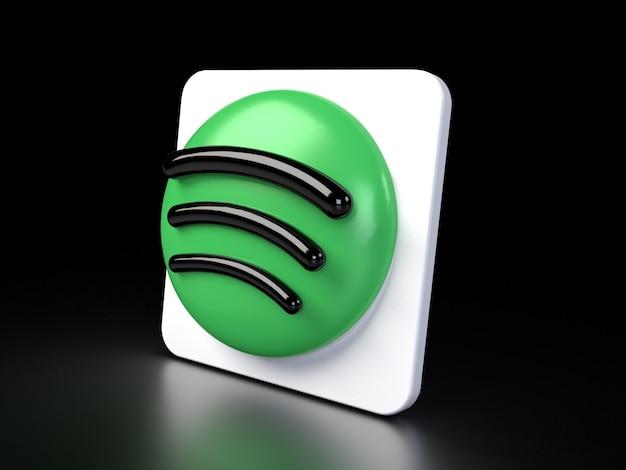 Spotify circle logo icon 3d premium photo 3d glossy matte rendering