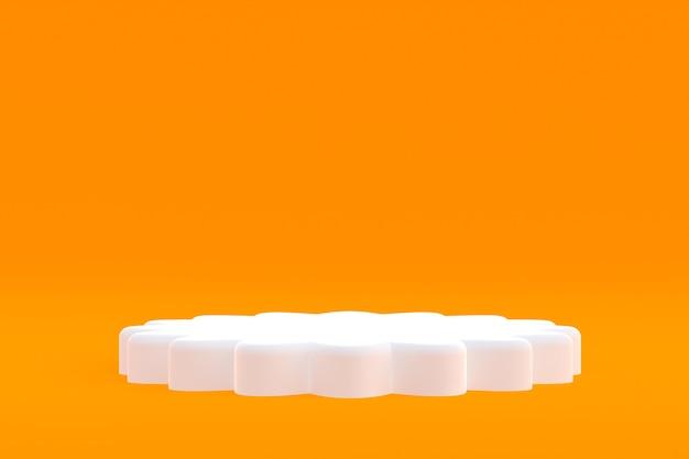 Stand de producto, podio mínimo en naranja para presentación de productos cosméticos.
