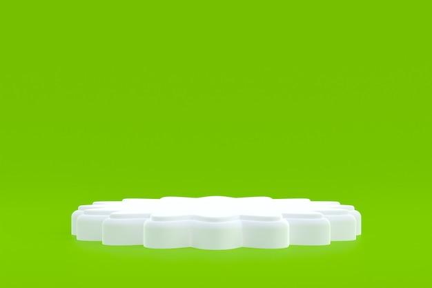 Stand de producto, podio mínimo en verde para presentación de productos cosméticos.