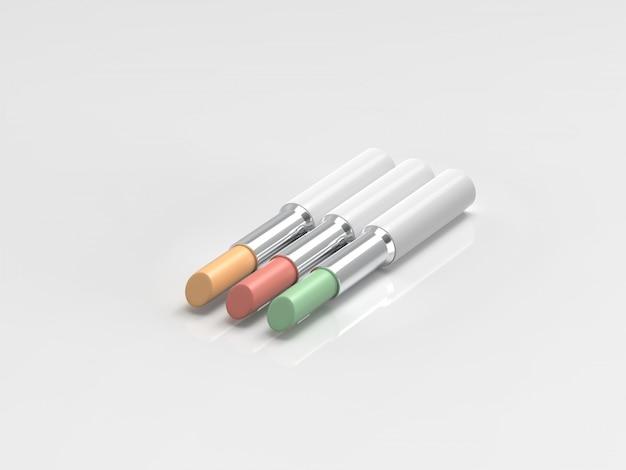 Stick paleta corrector sobre fondo blanco render 3d