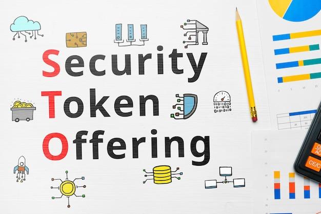 Sto de concepto o oferta de token de seguridad con iconos abstractos.