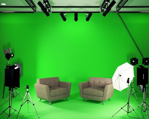 Studio big - estudio de cine moderno con pantalla verde. representación 3d