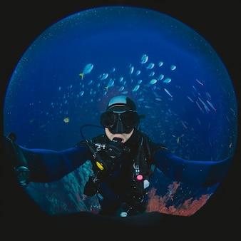 Submarino, buceo, selfie, tiro
