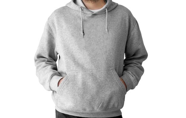 Sudadera con capucha gris aislada