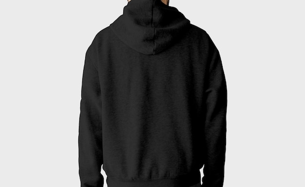 Sudadera con capucha negra detrás aislada