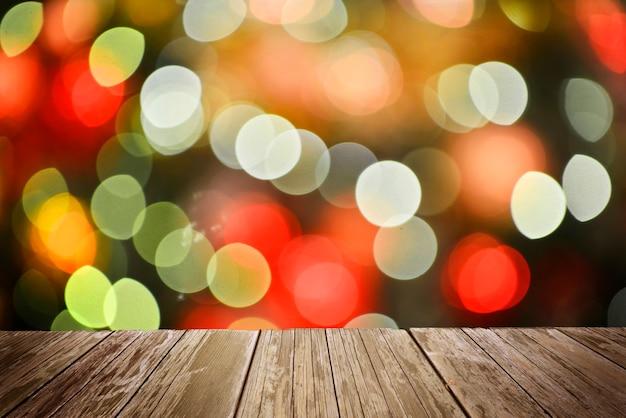 Suelo de madera con luz abstracta bokeh fondo chistmas.
