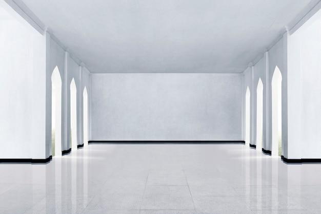 Suelos de mármol y paredes blancas.