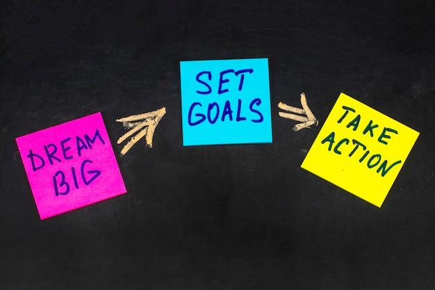 Sueñe en grande, establezca metas, adopte el concepto de acción: consejos motivacionales o recordatorios en coloridas notas adhesivas en el fondo de la pizarra.
