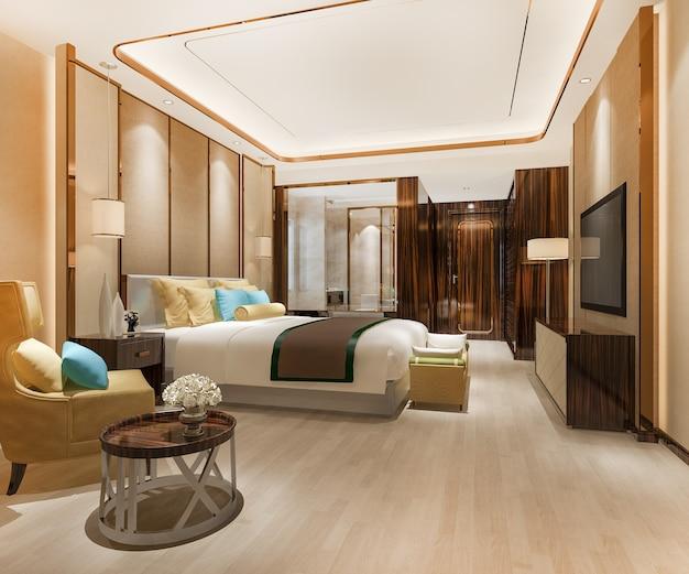 Suite de dormitorio de lujo en hotel con decoración moderna