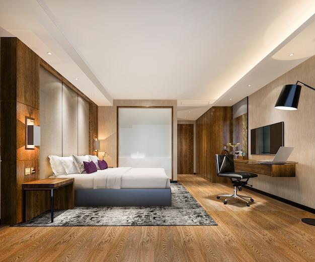 Suite de dormitorio de lujo en hotel con mesa de trabajo