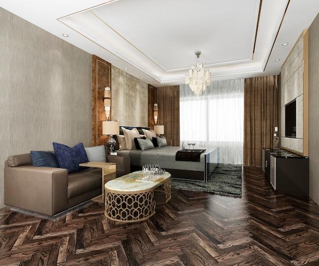Suite de dormitorio de lujo en hotel resort con cojín