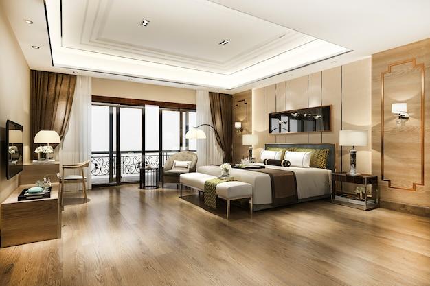 Suite de dormitorio de lujo en hotel resort de gran altura con mesa de trabajo