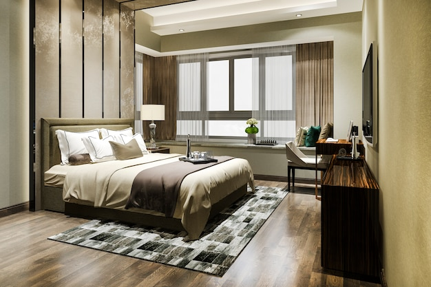 Suite de dormitorio de lujo en hotel resort de gran altura