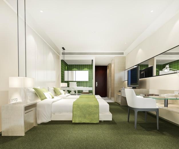 Suite de dormitorio de lujo moderno verde y baño y mesa de trabajo