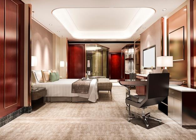 Suite de dormitorio de lujo rojo en hotel resort de gran altura con mesa de trabajo
