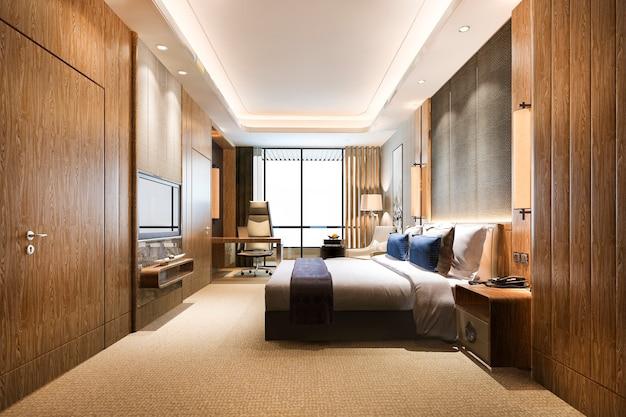 Suite de dormitorio moderno clásico de lujo en el hotel
