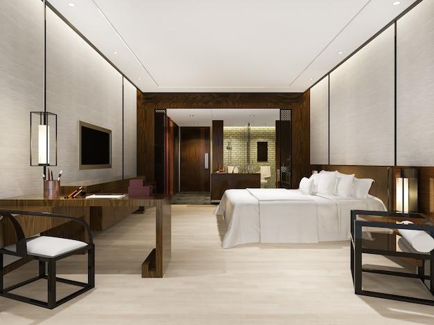 Suite de dormitorio moderno de lujo en hotel con decoración de estilo asiático