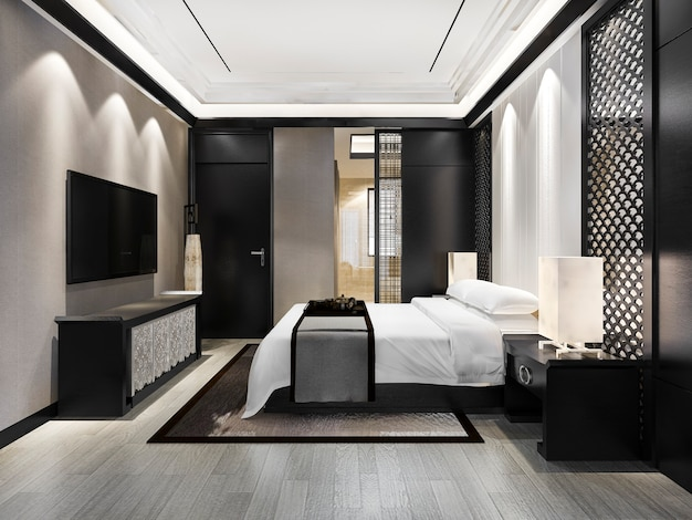 Suite de dormitorio moderno de lujo en el hotel