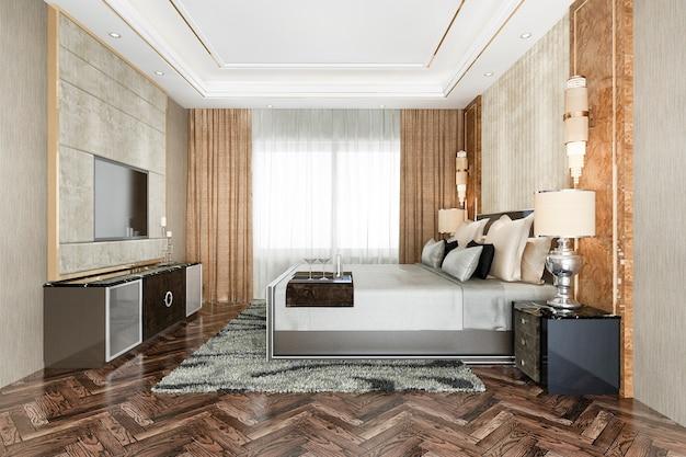 Suite de lujo clásico moderno dormitorio en hotel