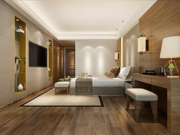 Suite de lujo en hotel con tv y mesa de trabajo