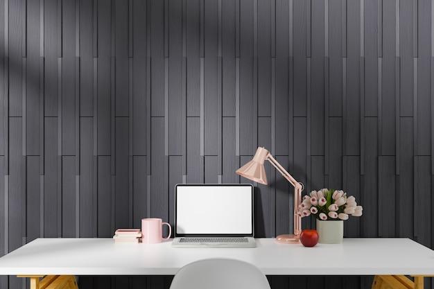 Suministros de escritorio de oficina en casa de espacio de trabajo en el lugar de trabajo de oficina. renderizado en 3d.