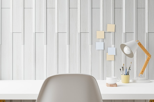 Suministros de escritorio de oficina en casa de espacio de trabajo en el lugar de trabajo de oficina. representación 3d.