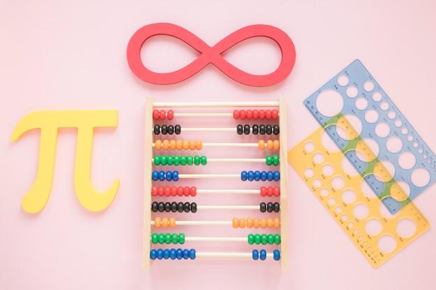 Suministros de reglas de matemáticas con símbolos científicos y ábaco