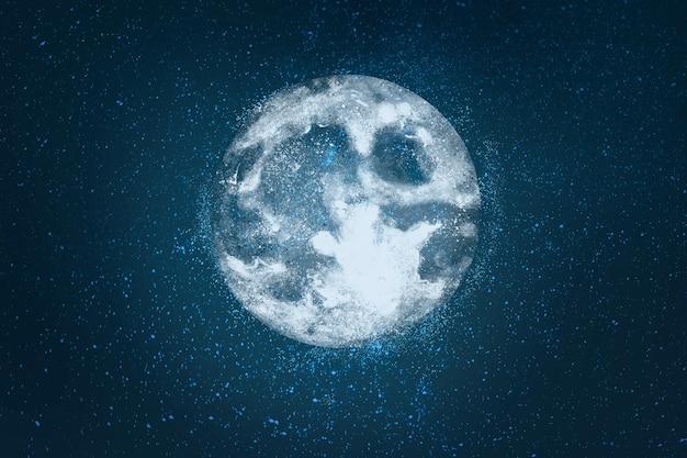 Super luna realista sobre fondo de cielo
