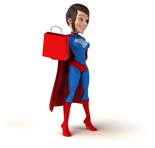 Super mujer sosteniendo una bolsa de compras