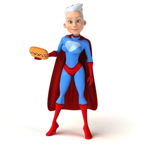 Super mujer sosteniendo un delicioso hot dog