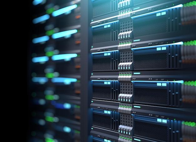Super racks de servidores de computadora en el centro de datos. ilustración 3d