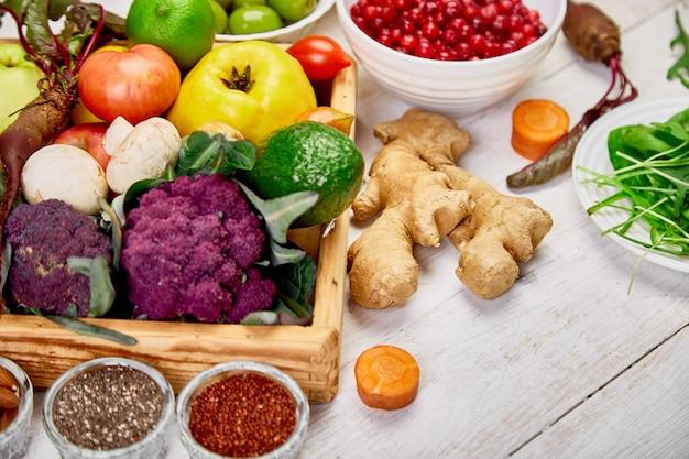 Superalimentos alimentos saludables. selección de dieta vegana.