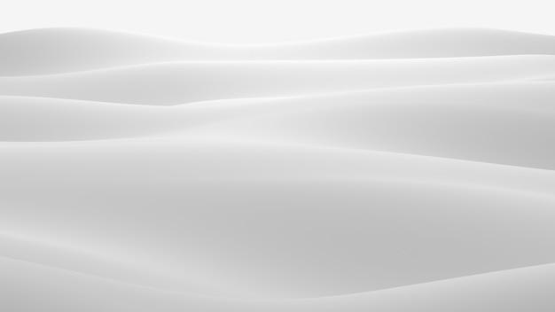 Superficie blanca con reflejos. fondo de ondas de luz mínima suave. olas de seda borrosas. flujo mínimo de ondas suaves en escala de grises. ilustración de render 3d.