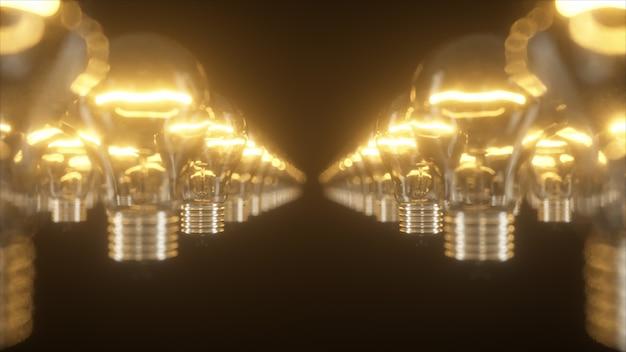 Superficie de bombillas incandescentes intermitentes