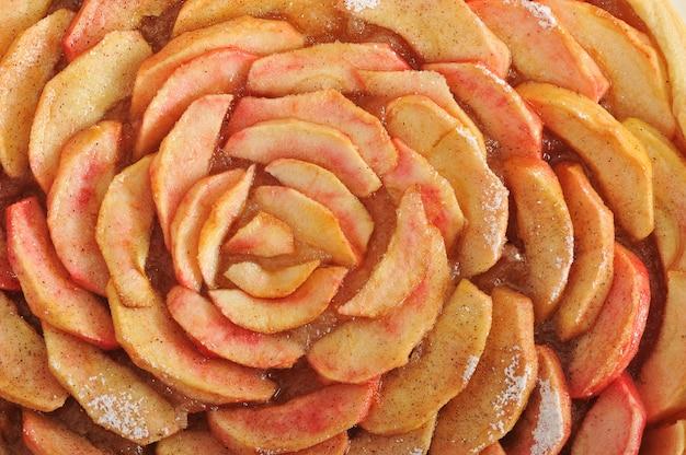 Superficie de coberturas tarta de manzana y canela