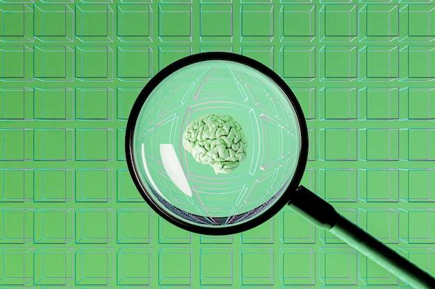 Superficie de cubos vacíos con una lupa en el centro que muestra un cerebro.