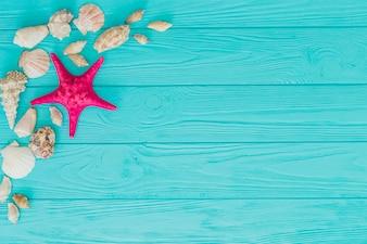 Superficie de madera azul con estrella de mar y conchas marinas