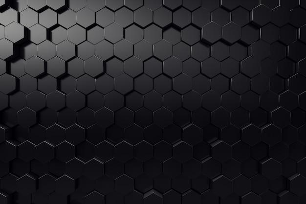 Superficie geométrica abstracta. fondo negro hexagonal. renderizado 3d