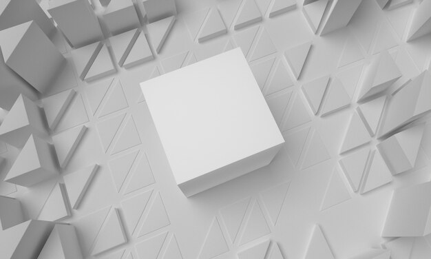 Superficie geométrica con triángulos abarrotados y cubo grande